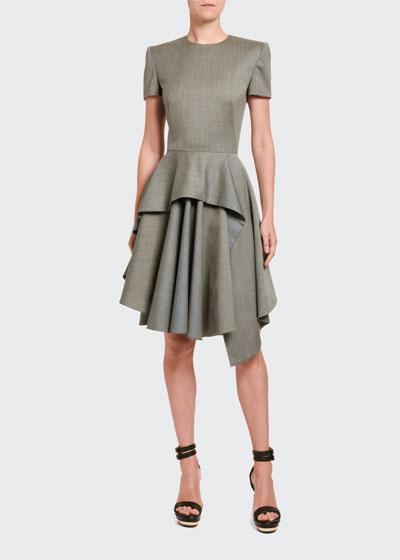 Textured Suiting Peplum Cocktail Dress