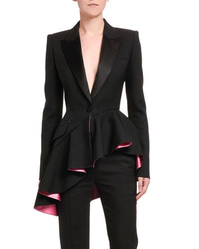 Short Asymmetric Ruffled Tux Blazer