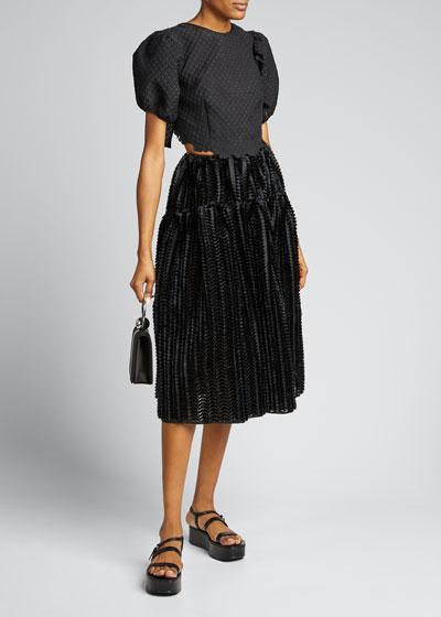 High-Waist Textured Sateen Midi Skirt