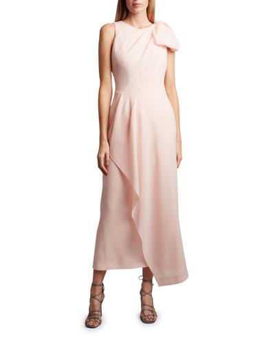 Golden Crest Crepe Bow-Shoulder Dress