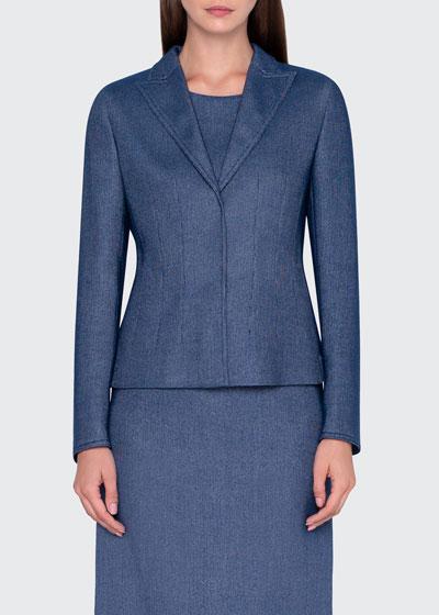 Wool-Cotton Pique Blazer