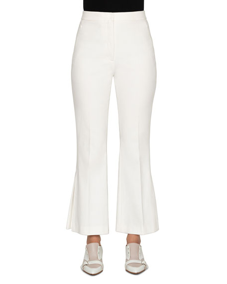 Faria Stretch Cotton Pleated-Flare Pants