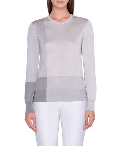 Mezzo Colorblock Intarsia Sweater