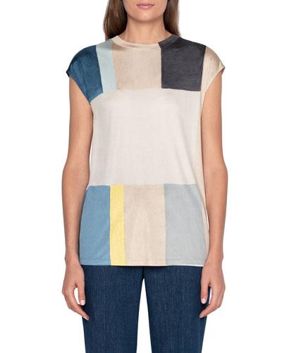 Colorblocked Silk Cap-Sleeve Sweater