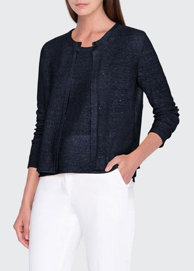 Sparkle Linen-Cotton Cardigan
