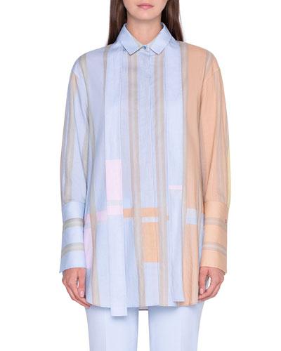 Colorblocked Cotton Tunic Shirt