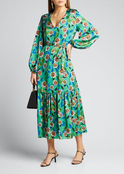Marita Floral-Print Silk Twill Dreaming Dress