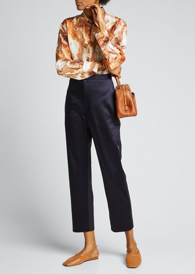Satin Slim-Leg Cropped Pants