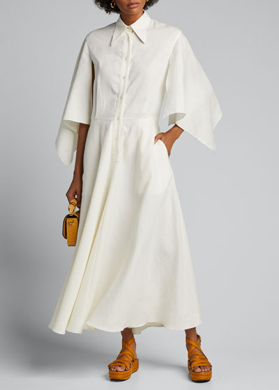 Glinda Capelet-Sleeve Shirtdress