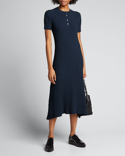 Natasha Ribbed Henley Dress
