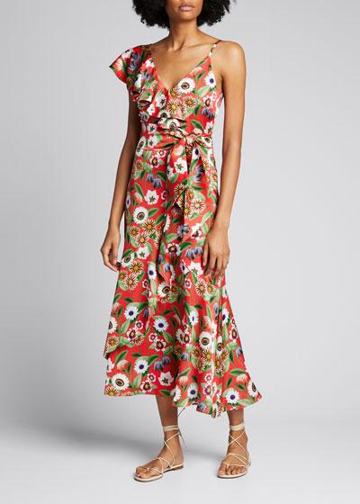 Isadora Floral Crepe De Chine Ruffle Dress