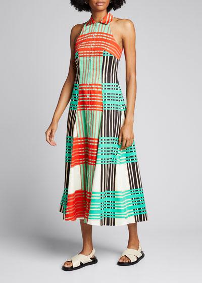 Ida Check Sleeveless Cotton Poplin Midi Dress