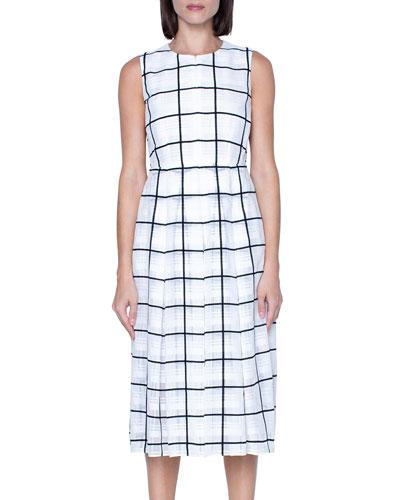 Windowpane Print Midi Dress