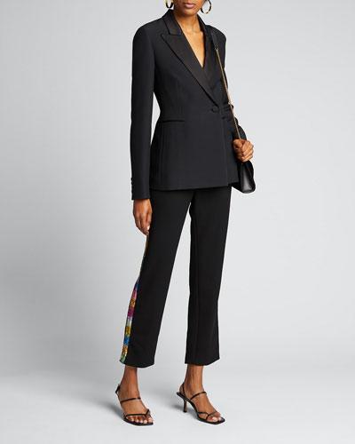 Electric Dream Sequin Tuxedo-Striped Pants