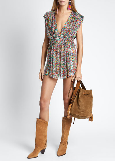 Floral Silk Sleeveless Deep V-neck Dress