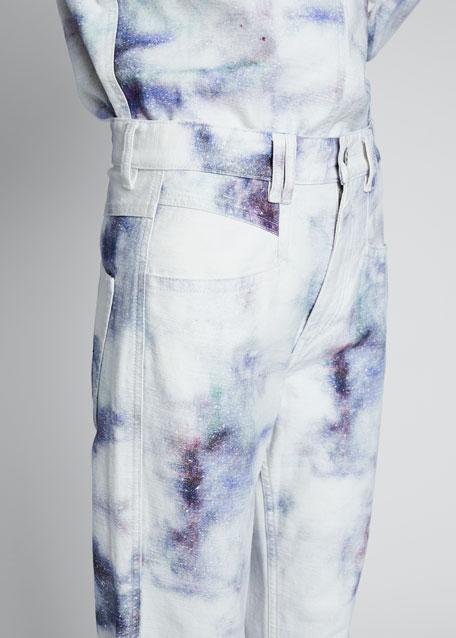 High-Rise Tie-Dye Boyfriend Jeans with Raw Hem