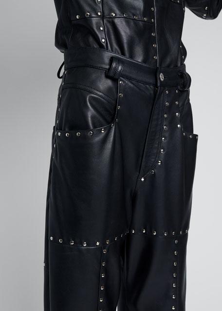 Stud Leather High-Waist Pants