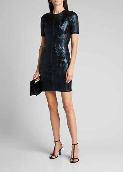 Embellished Short-Sleeve Crewneck Dress