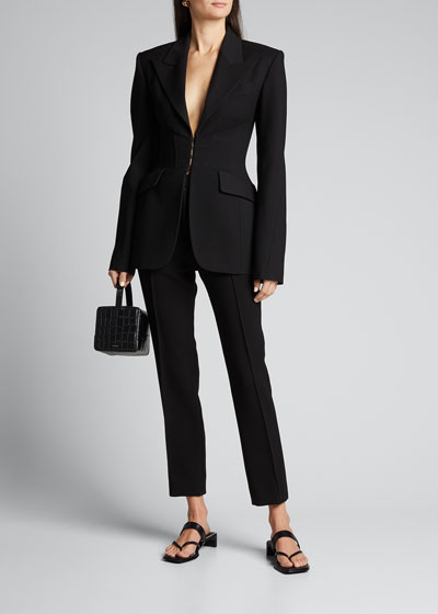 Wool Long-Sleeve V-neck Blazer Jacket