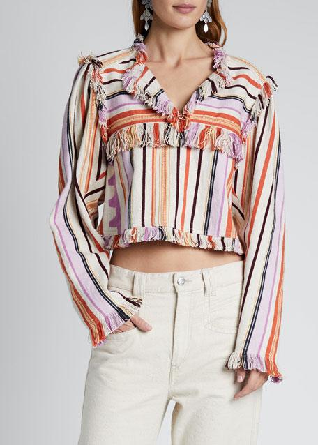 Cotton-Linen Striped Top