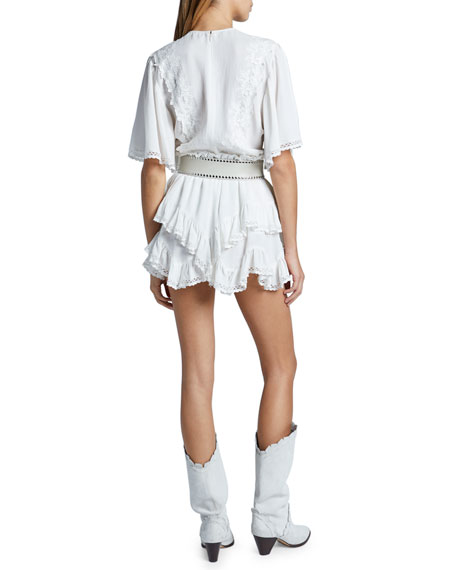 Asymmetric Ruffle Tiered Shorts