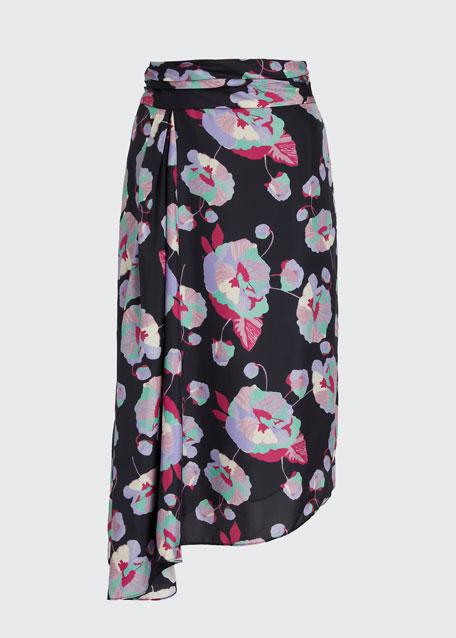 Floral Silk Asymmetrical Skirt