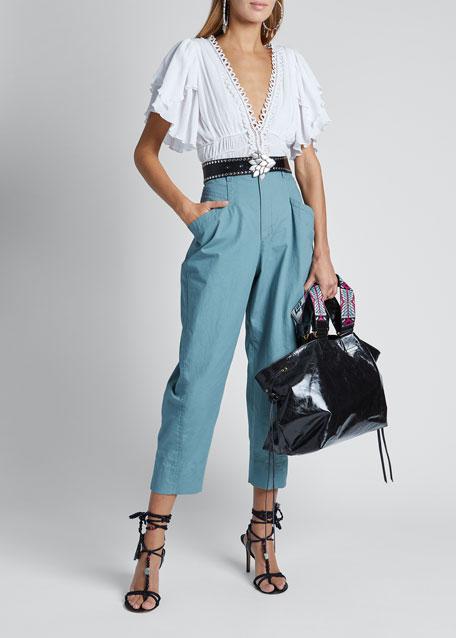 Cotton High-Waist Pants