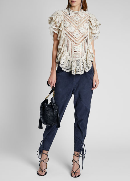 Image 1 of 1: Embroidered Lace Ruffle Short-Sleeve High-Neck Top