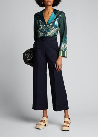 Poiretti Cotton Wide-Leg Trousers