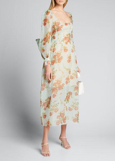 Floral Silk Oversize Long-Sleeve Scoop-Neck Dress