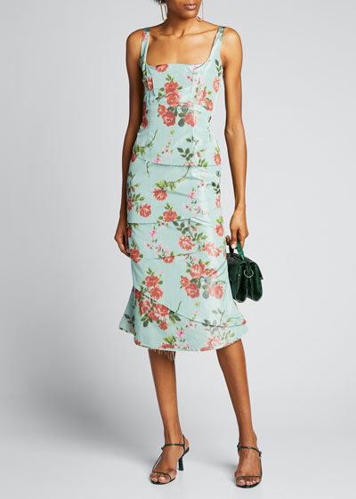Floral Poly/Silk Scoop-Neck Ruffle Dress