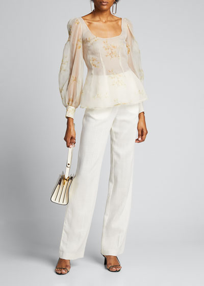Floral Silk Oversize Long-Sleeve Scoop-Neck Top