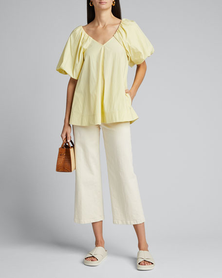 Image 1 of 1: Puff-Sleeve V-Neck Top