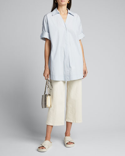 Oversized Collared Singe-Button Blouse