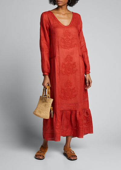 Pleated Daisy-Embroidered Linen Maxi Dress
