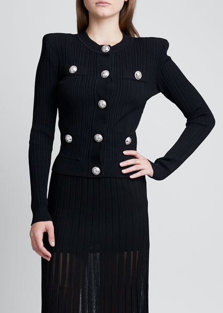 Pleated Knit Cardigan with Silver Buttons