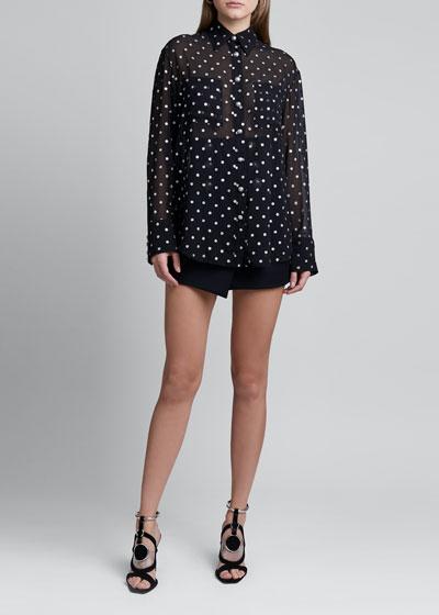 Glitter Polka-Dot 2-Pocket Shirt