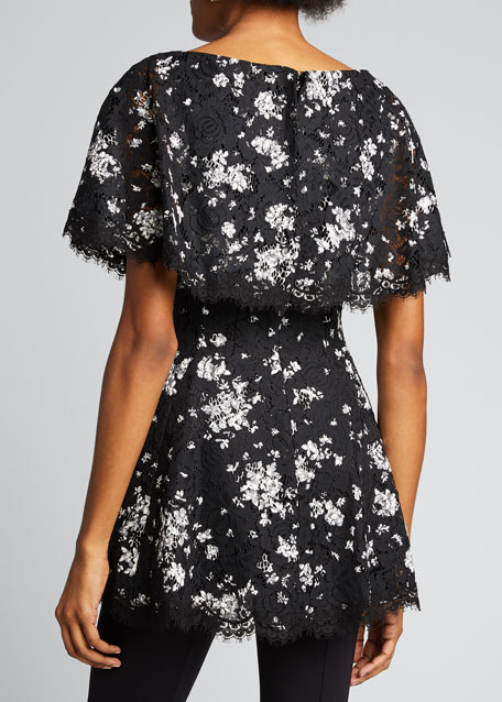 Floral Printed Corded Lace Capelet Top