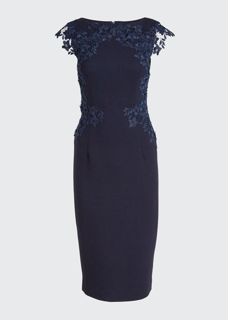 Lace-Embroidered Wool Crepe Sheath Dress