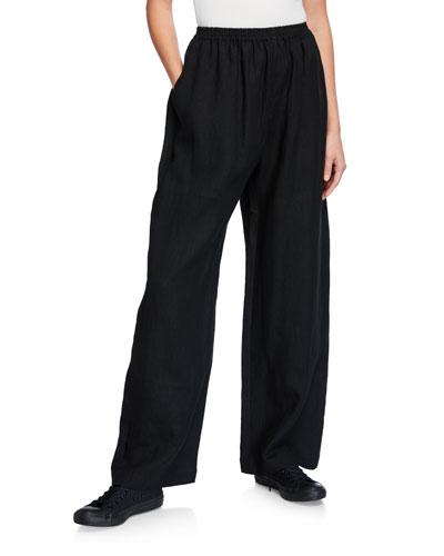Linen Full-Leg Trousers