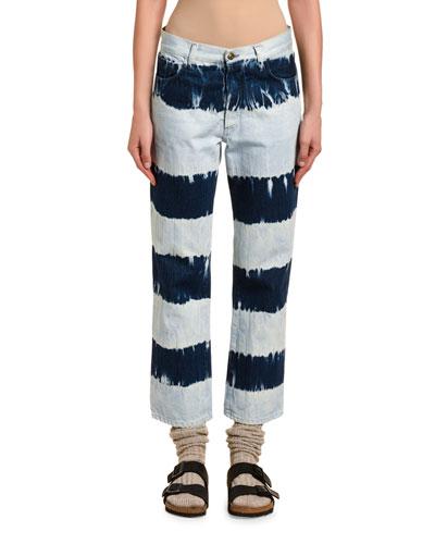 Tie-Dye Straight-Leg Jeans