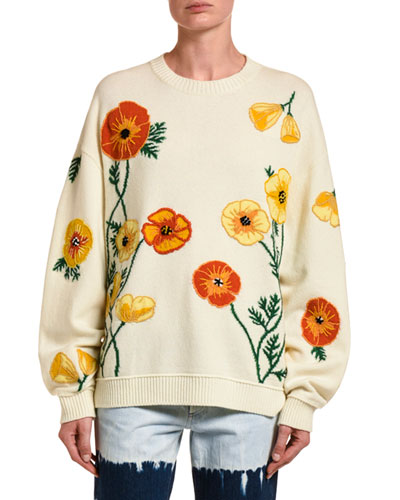 Poppy Blossom Wool-Cashmere Sweater