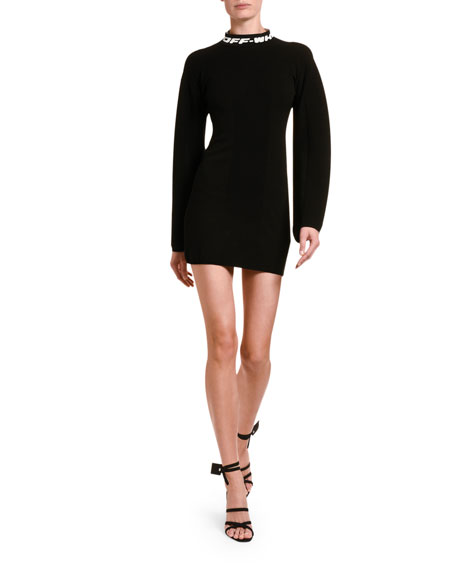 Jersey Mock-Neck Mini Dress with Open Back