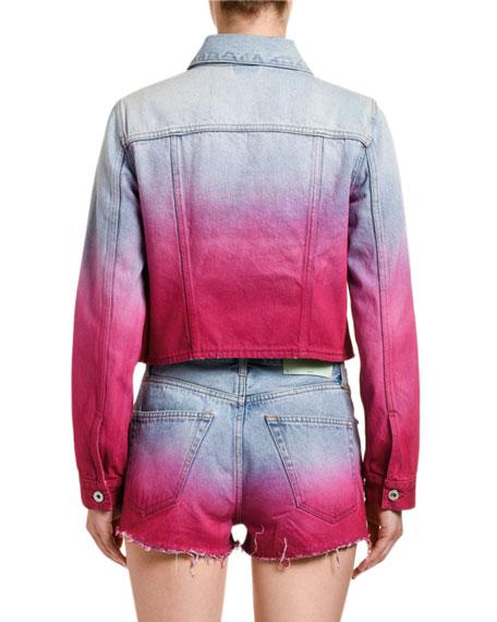 Crop Degrade Denim Jacket