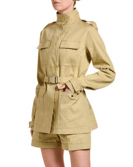 High-Neck Belted Jacket