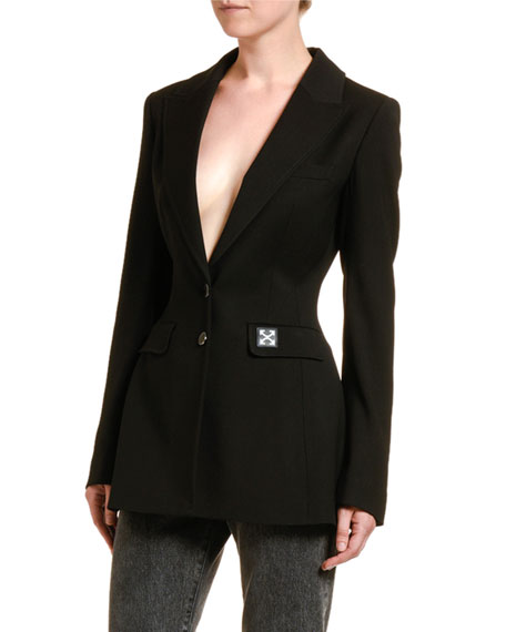 Fitted Crepe Blazer Jacket