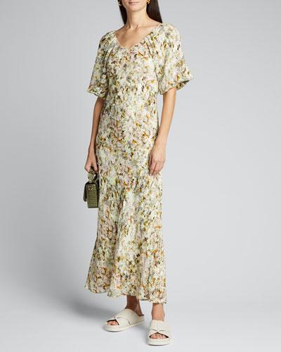 Floral Jacquard Puff-Sleeve Maxi Dress