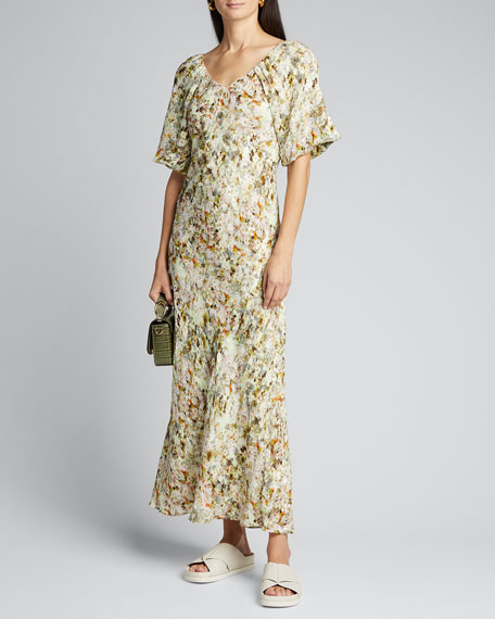 Floral Jacquard Puff-Sleeve Maxi Dress