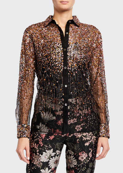 Dripping Bead Tulle Classic Shirt