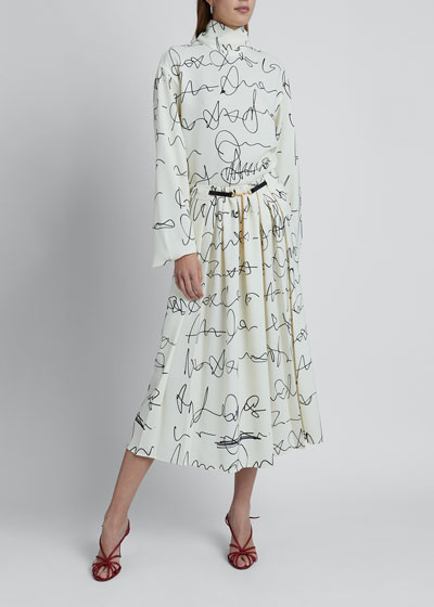Signature Print Belted Skirt